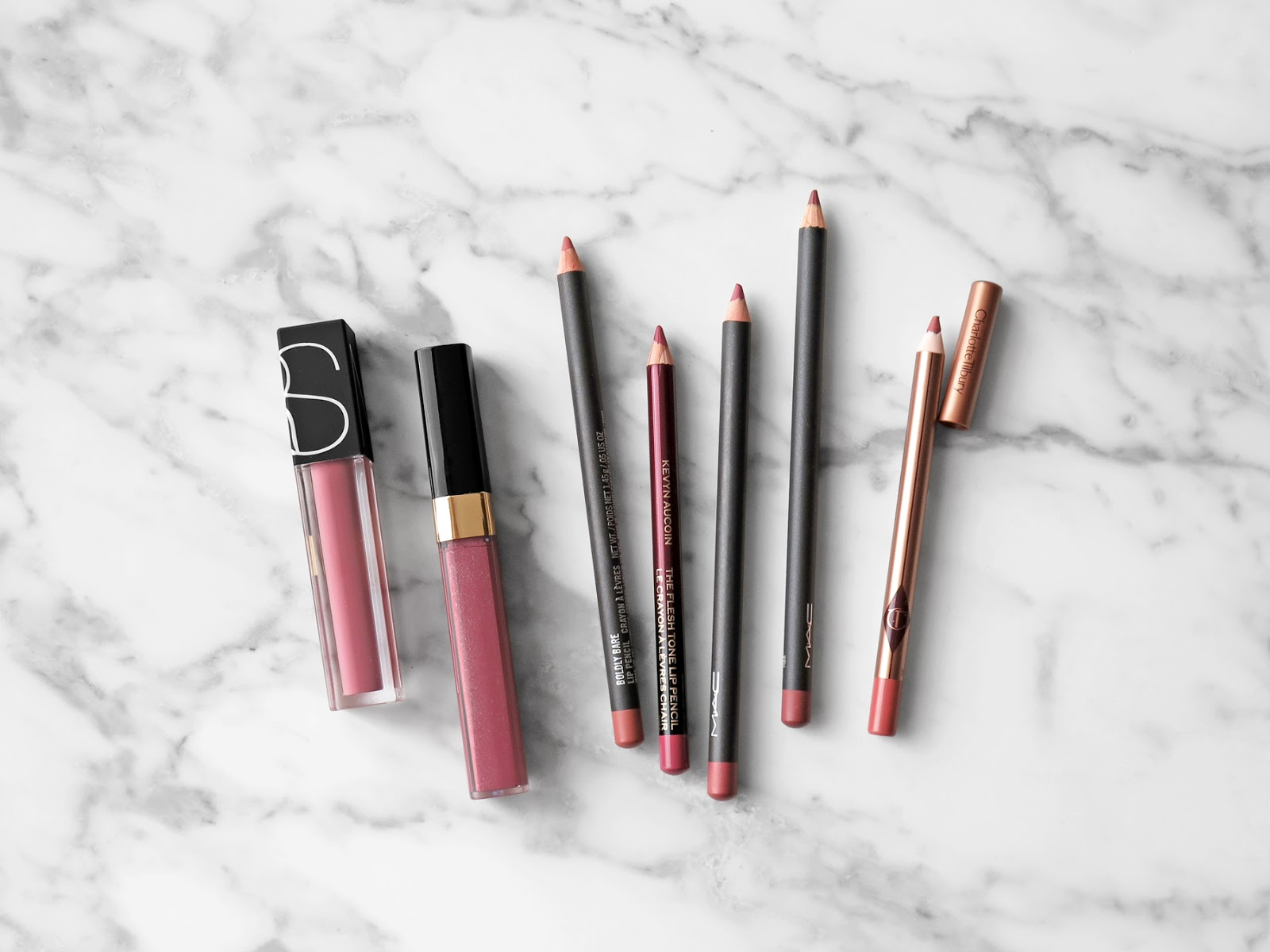 NARS Bound, Chanel Wild Rose, MAC Lip Pencils - The Beauty Look Book