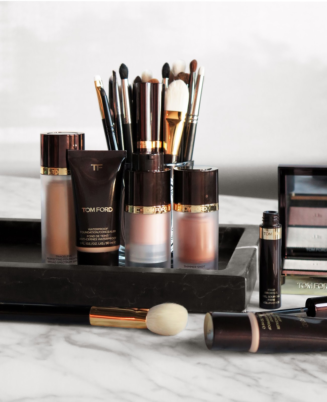Tom Ford Beauty Face Collection Waterproof Foundation Concealer Shimmer Shots And Fiber Brow Gel The Beauty Look Book