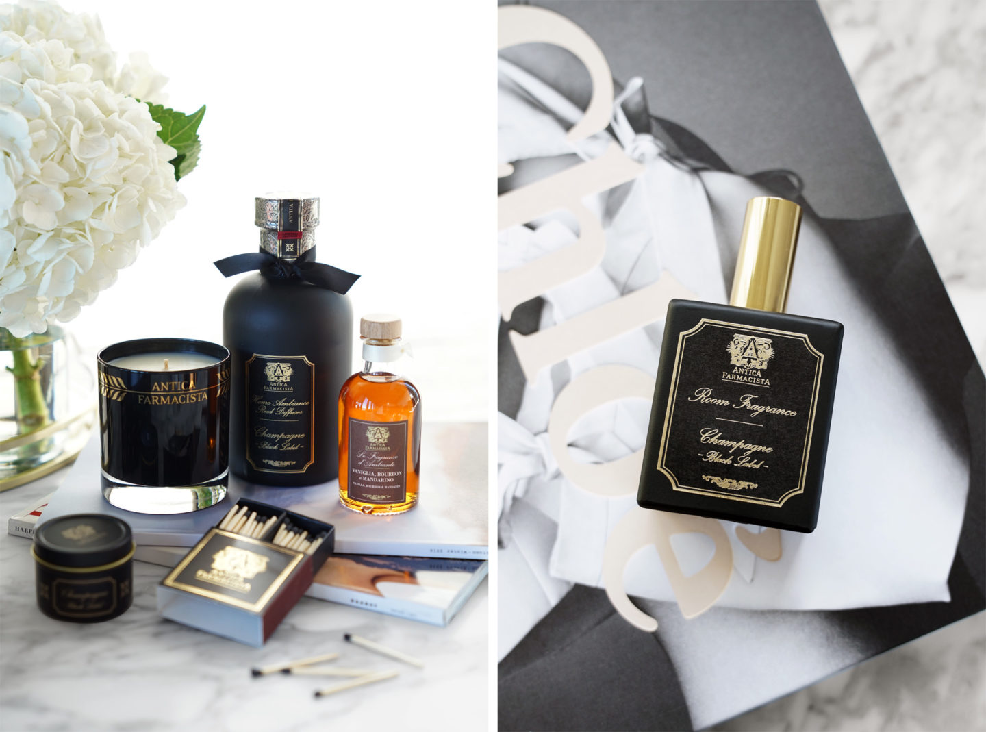 Antica Farmacista Champagne Black Label Diffusers and Room Sprays for holiday