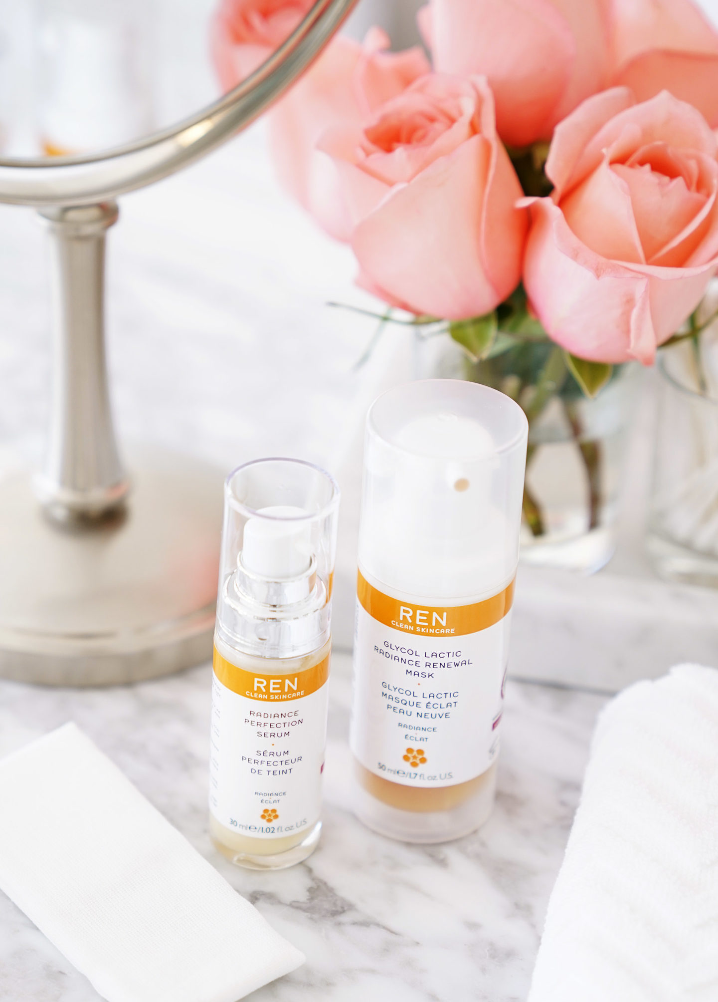 REN Clean Skincare Glycol Lactic Radiance Renewal Mask and Radiance Perfection Serum Review