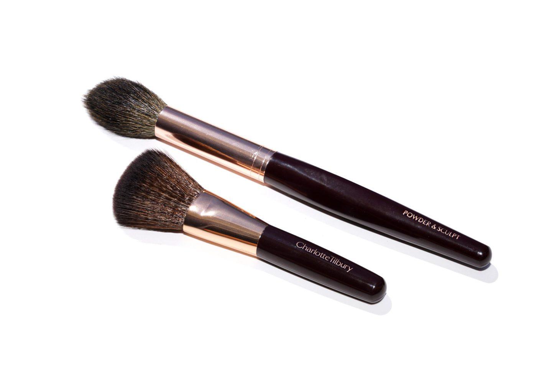 Charlotte Tilbury Powder and Sculpt Brush vs Mini Blush Brush