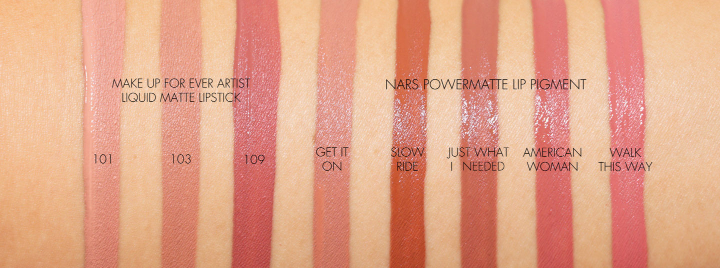Make Up For Ever Artist Liquid Matte Lipstick and NARS Powermatte Lip Pigment swatches | The Beauty Look Book