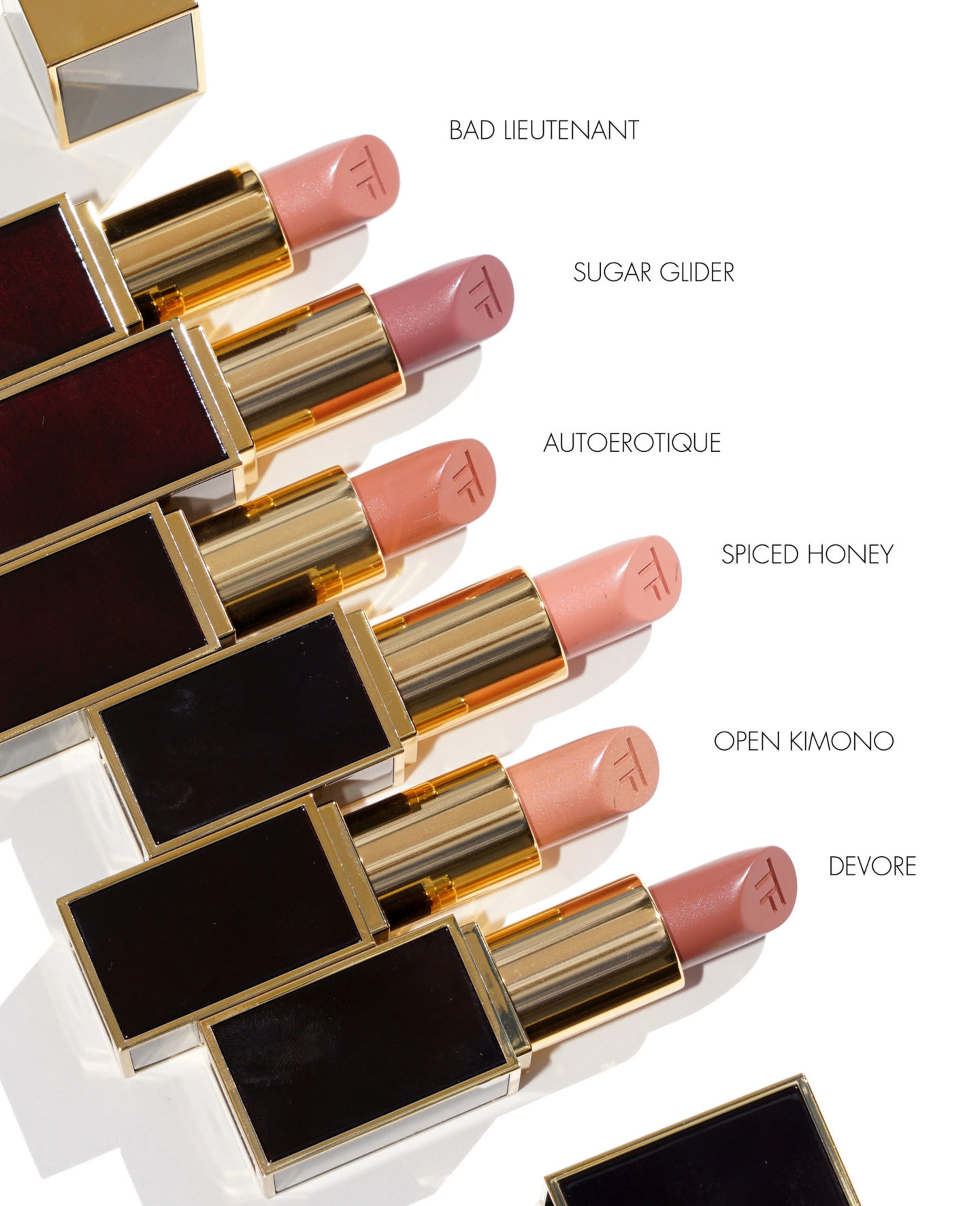 Tom Ford Lipstick Bad Lieutenant, Sugar Glider, Autoerotique, Spiced Honey, Open Kimono, Devore | The Beauty Look Book