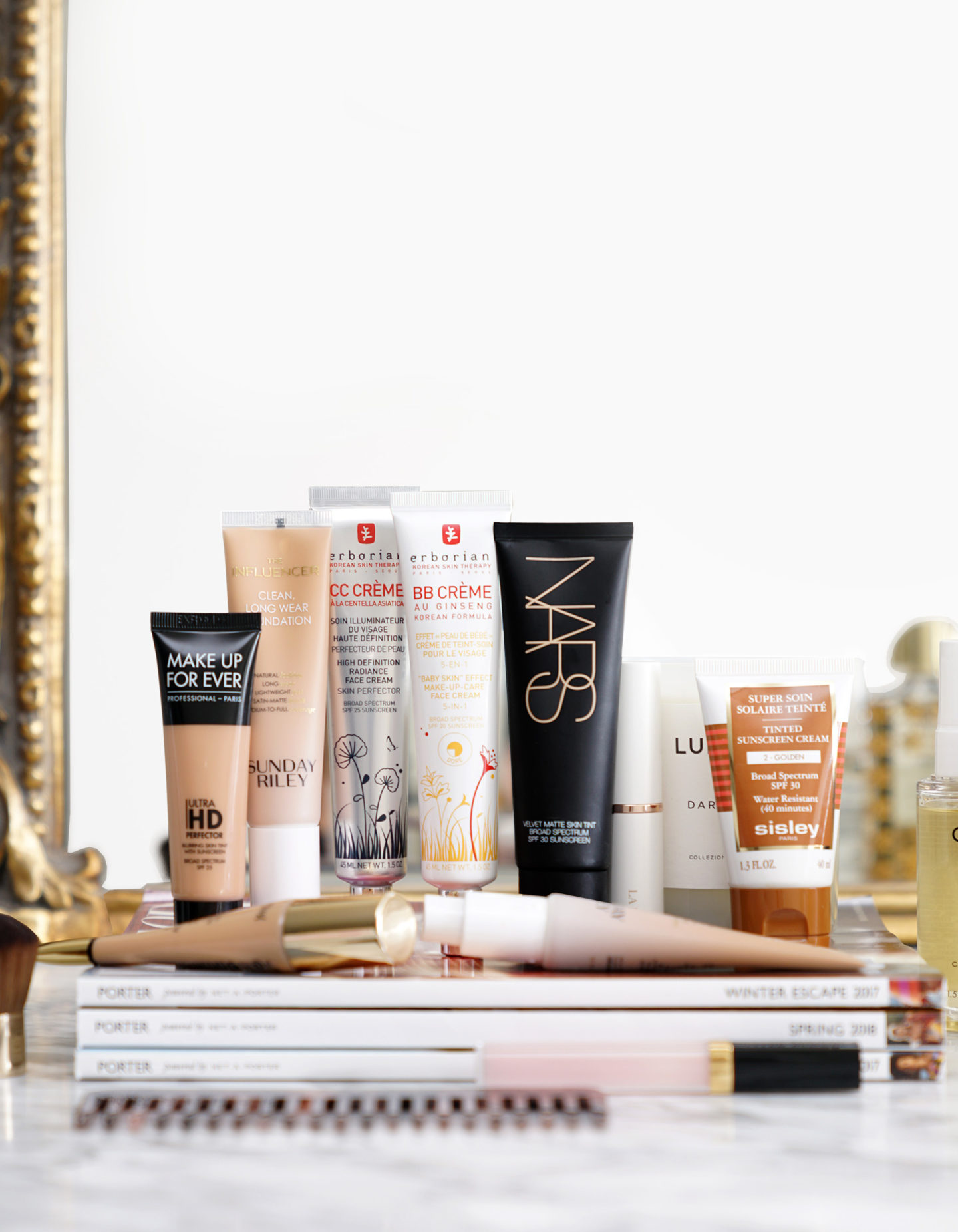 Natural Looking Foundations Make Up For Ever Ultra HD Perfector, Sunday Riley Influencer Foundation, Erborian BB Creme and CC Creme, NARS Velvet Matte Skin Tint, Sisley Tinted Sunscreen Cream | The Beauty Look Book