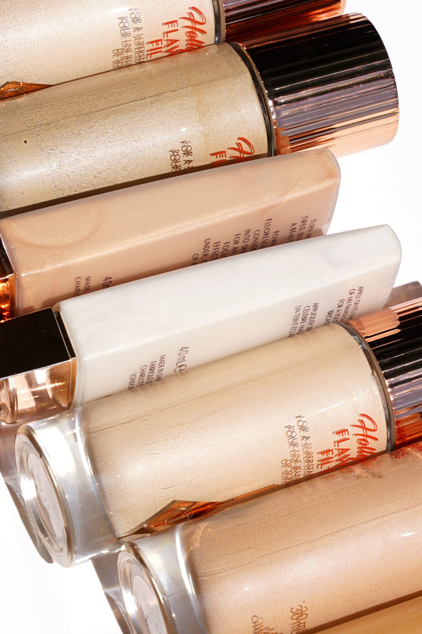 Charlotte Tilbury Hollywood Flawless Filter All Shades vs Wonder Glow and Brightening Youth Glow