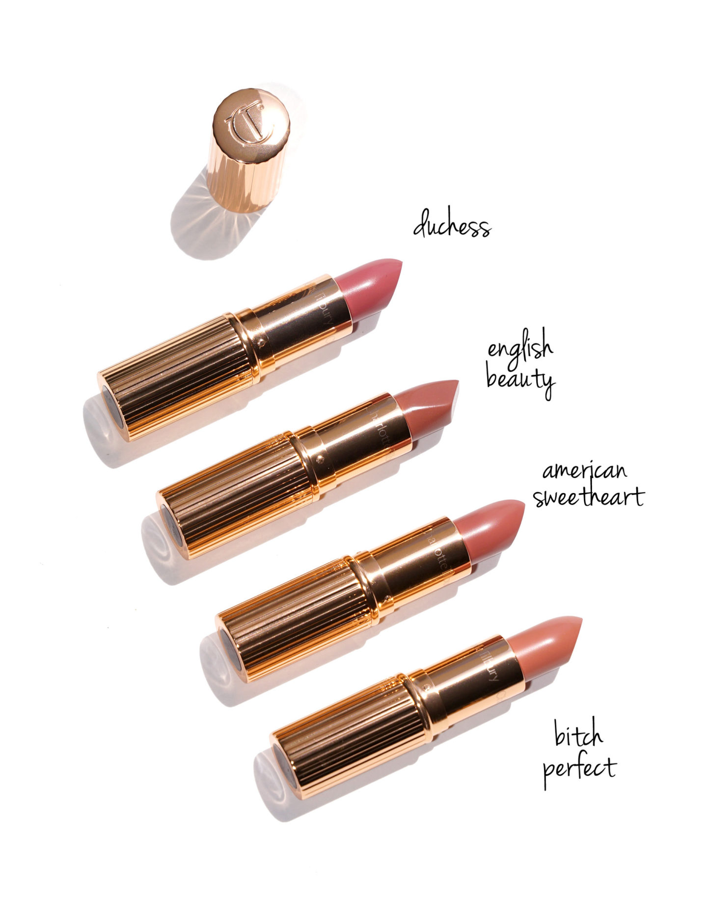 Charlotte Tilbury Online Exclusives The Duchess, English Beauty, American Sweetheart, Bitch Perfect Review + Swatches
