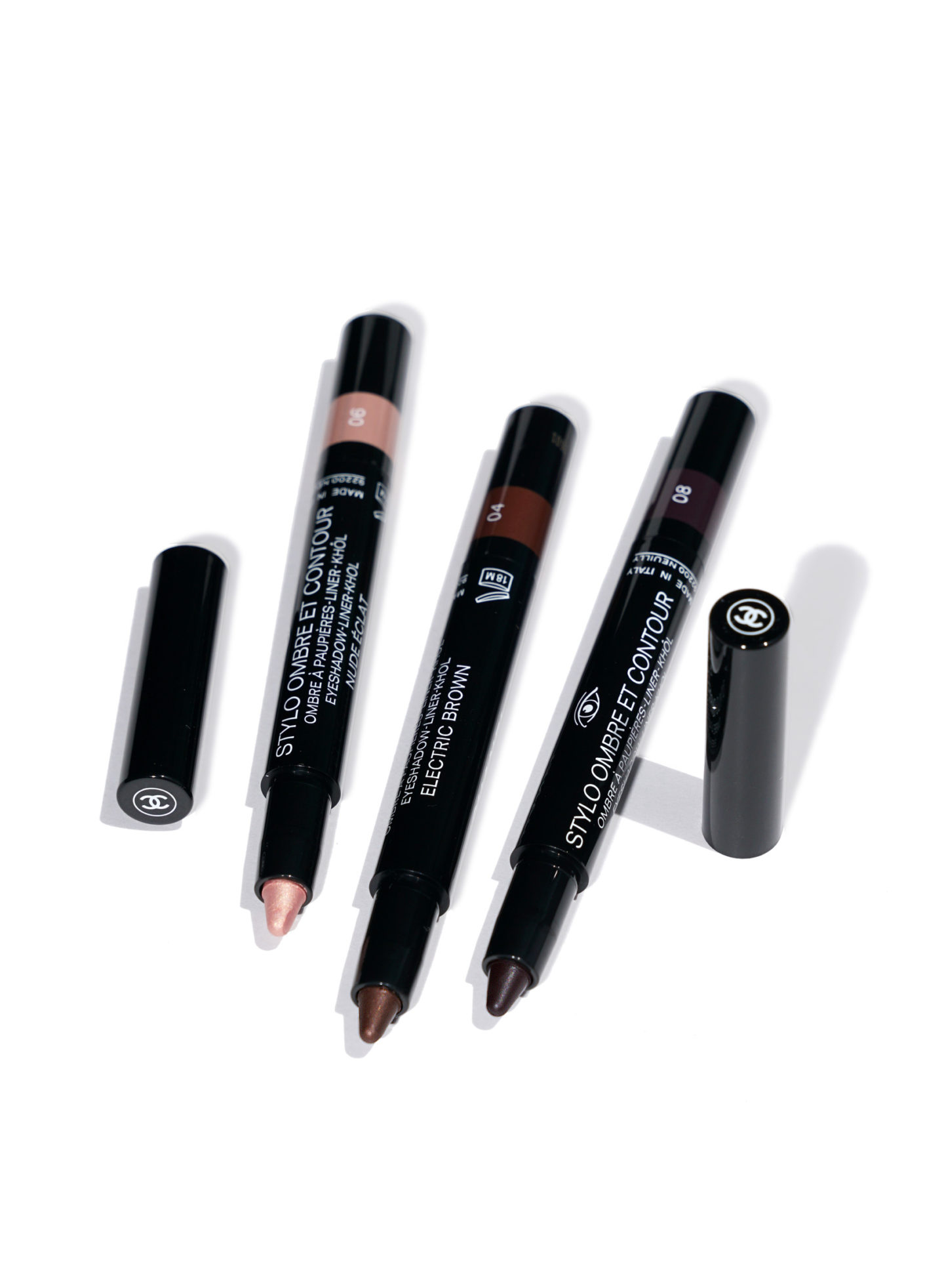 Chanel Stylo Ombre Et Contour Nude Eclat, Electric Brown and Rouge Noir