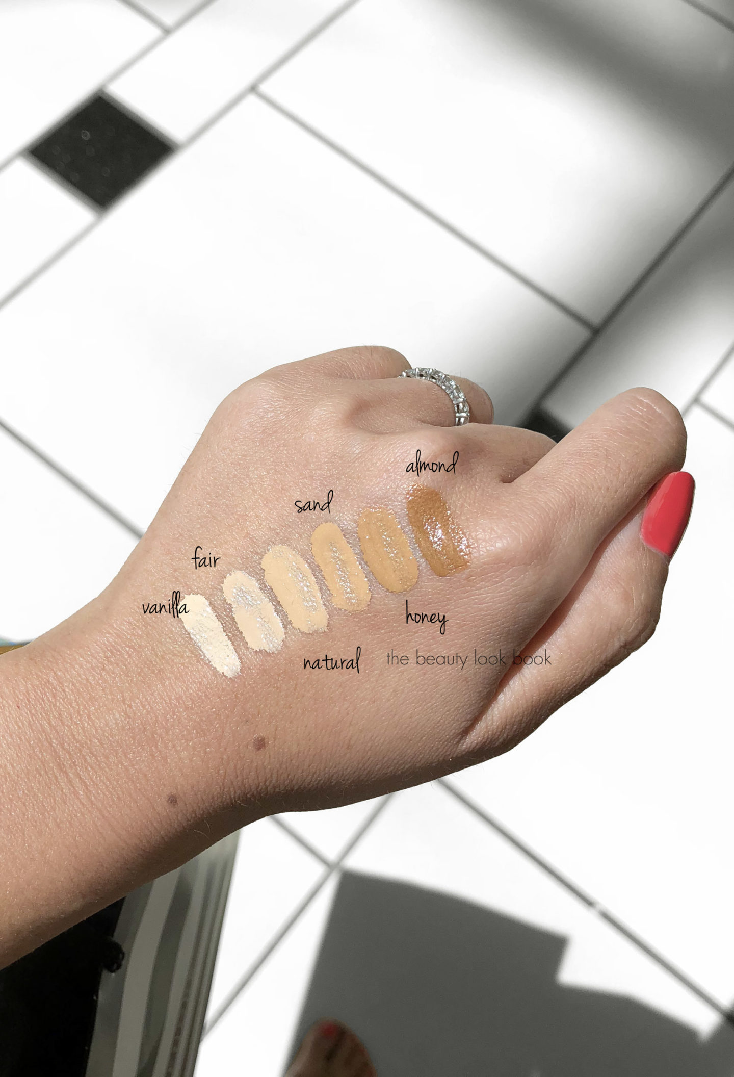 Hourglass Veil Retouching Fluid Swatches Vanilla, Fair, Natural, Sand, Honey and Almond via The Beauty Look Book