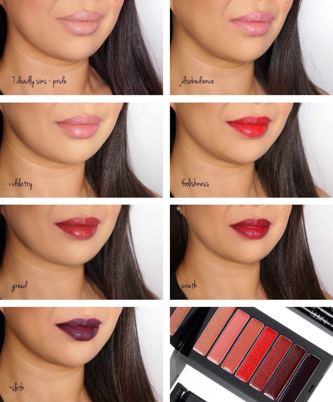 NARS 7 Deadly Sins Audacious Lipstick Palette swatches | The Beauty Look Book