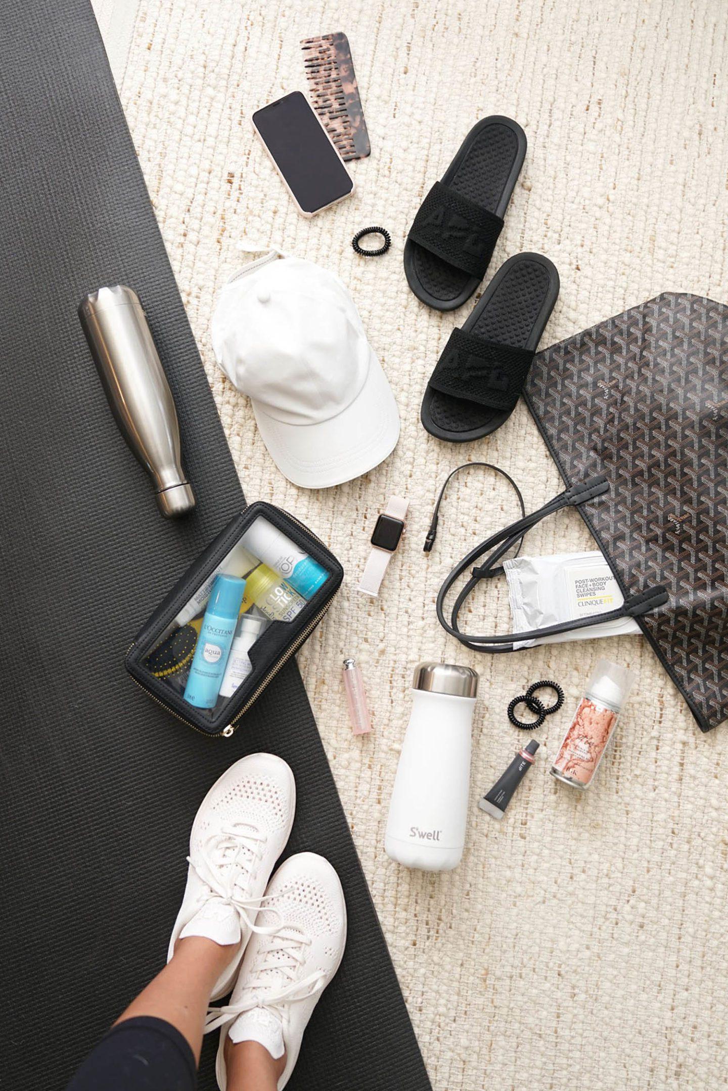 Gym Bag Essentials | S'Well Bottles, APL Slides, Kopari Deodorant, Supergoop Sunscreen