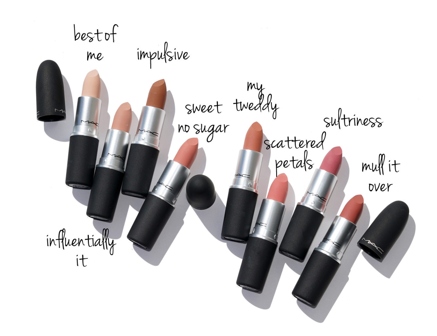 MAC Powder Kiss Best of Me, Influentially It, Impulsive, Sweet No Sugar, My Tweedy, Scattered Petals, Sultriness and Mull it Over