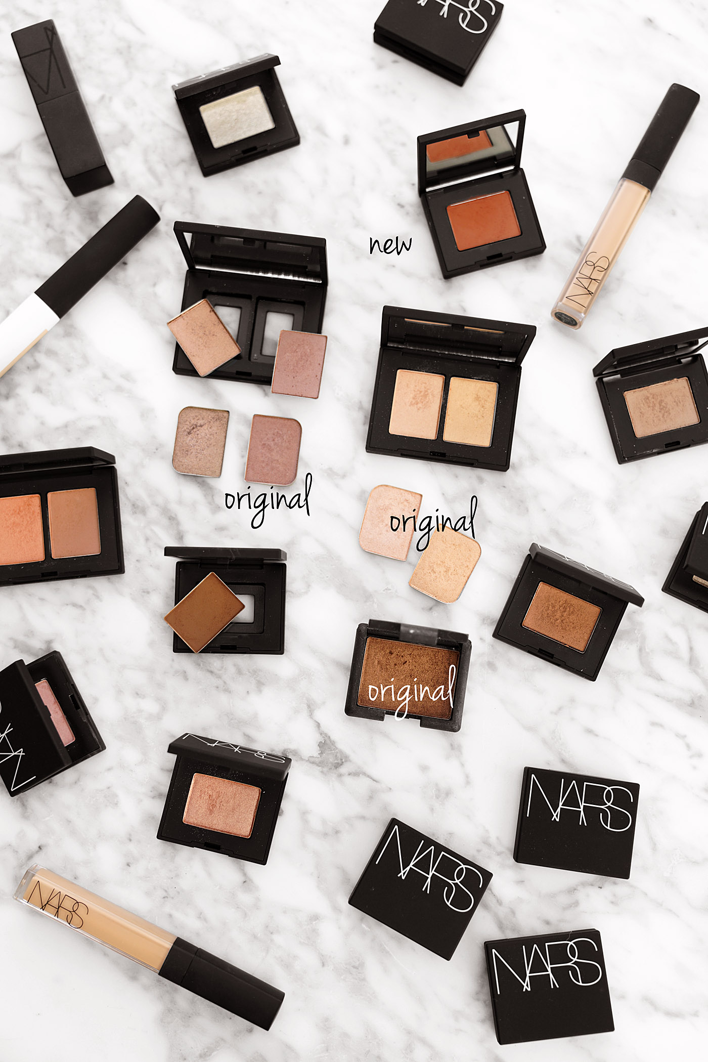 NARS Eyeshadow Single and Duo relaunch vs original pans