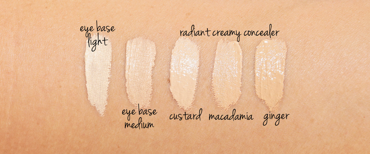 NARS Tinted Eye Base Light and Medium vs Radiant Creamy Concealer Custard, Macadamia and Ginger swatches