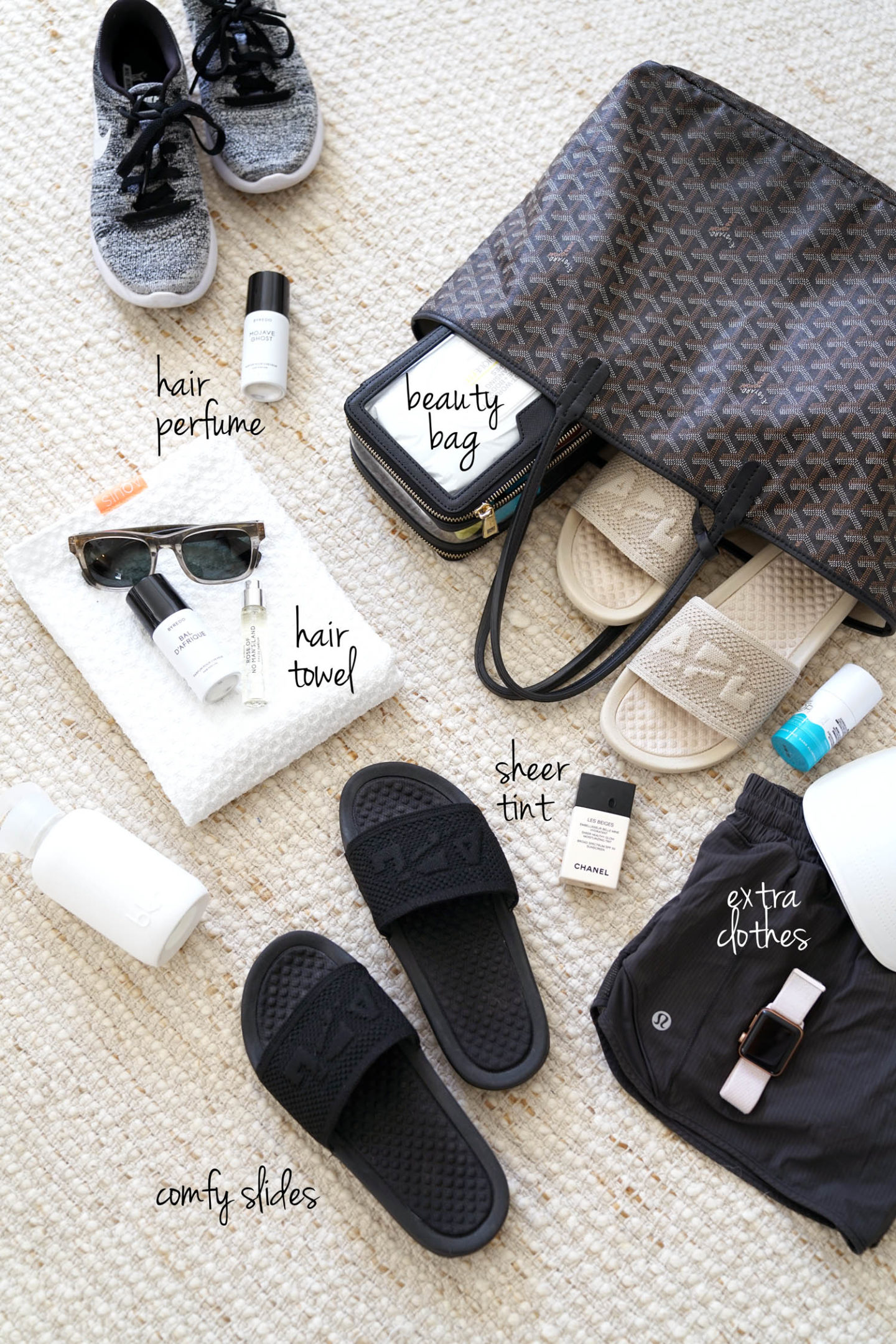 Post Workout Favorites Aquis Hair Towel, APL Slides, Byredo Hair Perfume