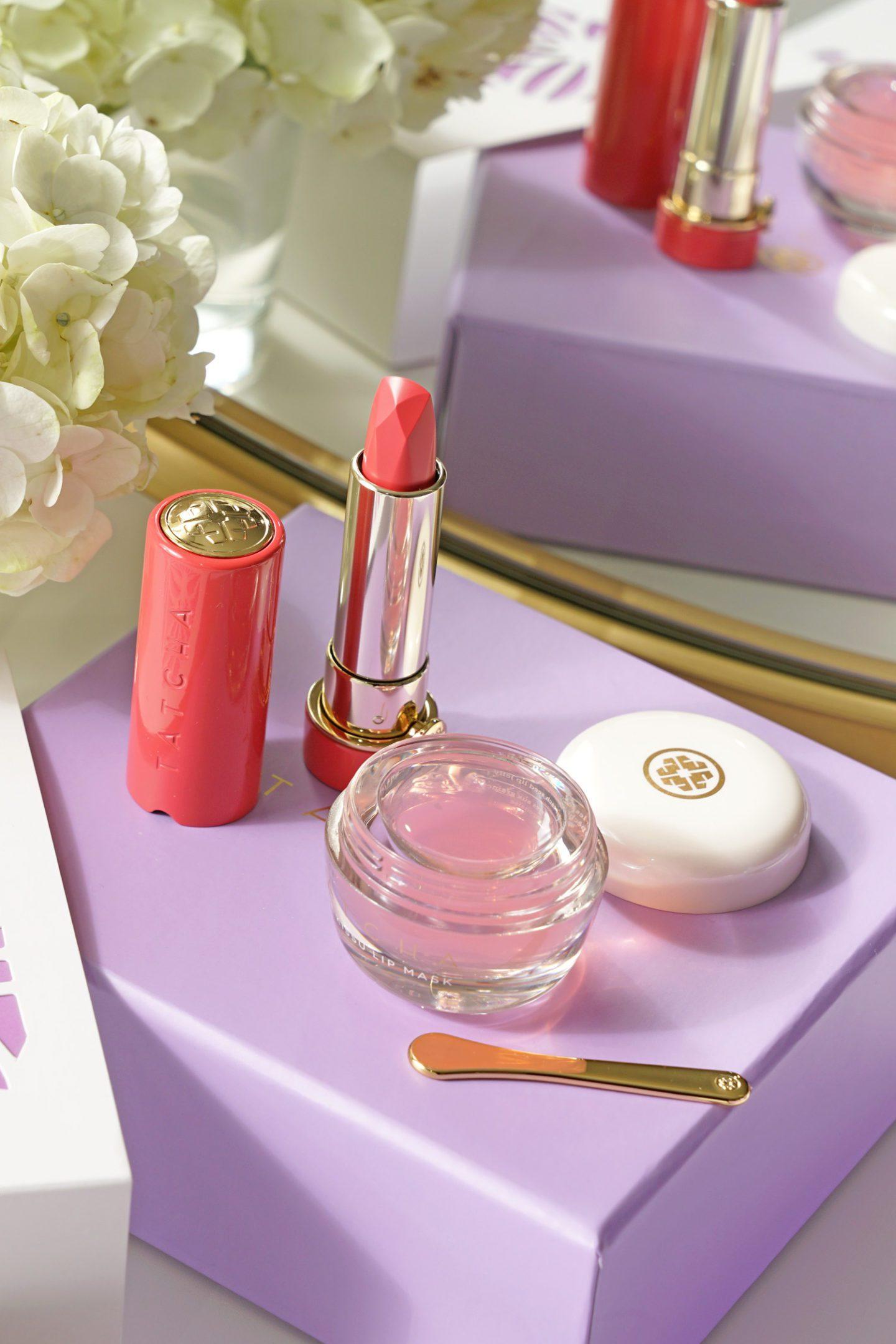 Tatcha Blushing Lips Duo, Peony Silk Blossom and Kissu Lip Mask