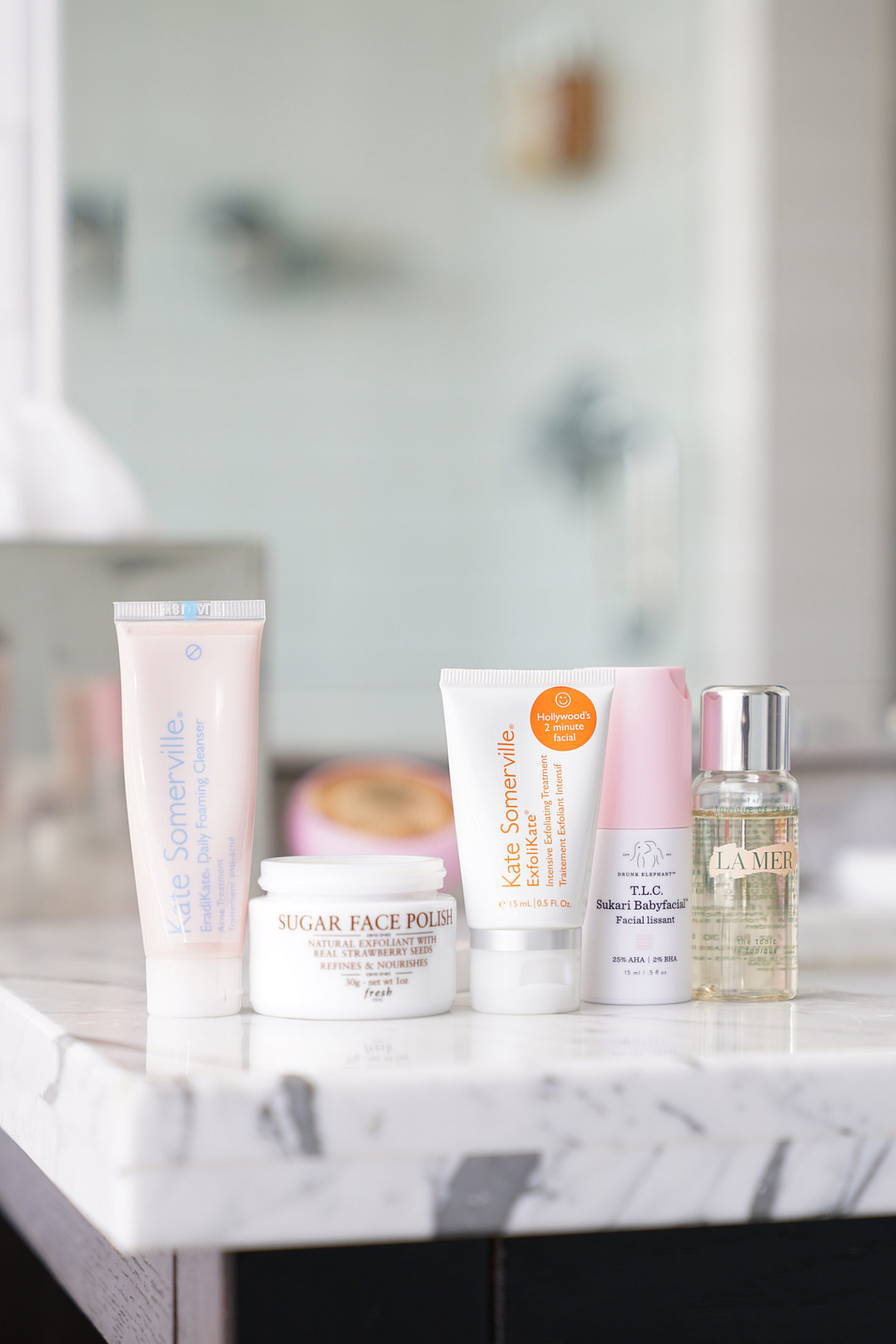 Travel Skincare Kate Somerville Cleansers, Fresh Beauty Scrub, Drunk Elephant