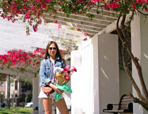 Spring Outfit Madewell Jacket, Whisper Cotton Tee, STS Blue White Denim Shorts, Converse