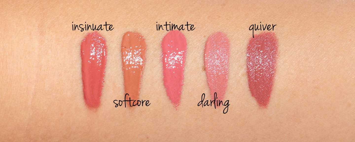 Insinuate, Softcore, Intimate, Darling, Quiver swatches