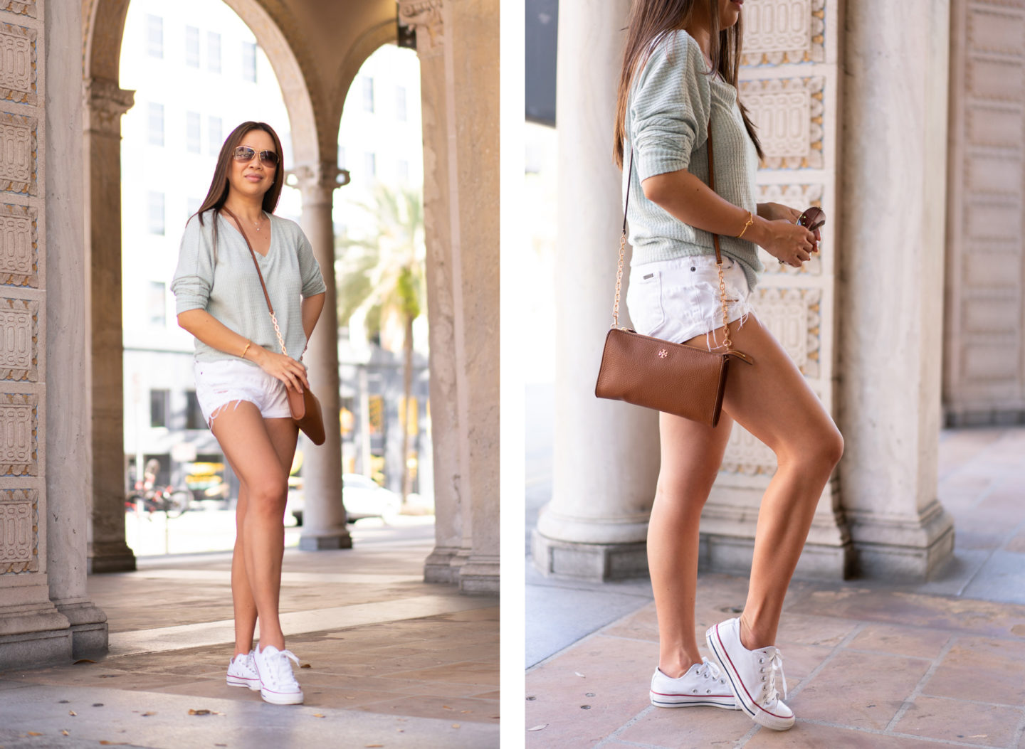 Anthropologie Cloudfleece Top, STS Blue Shorts, Tory Burch Crossbody