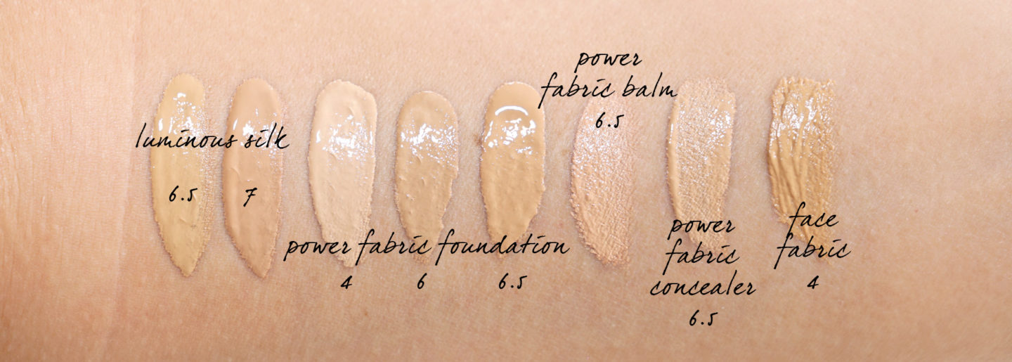 Armani Luminous Silk, Power Fabric Foundation swatches 6 and 6.5 and 7