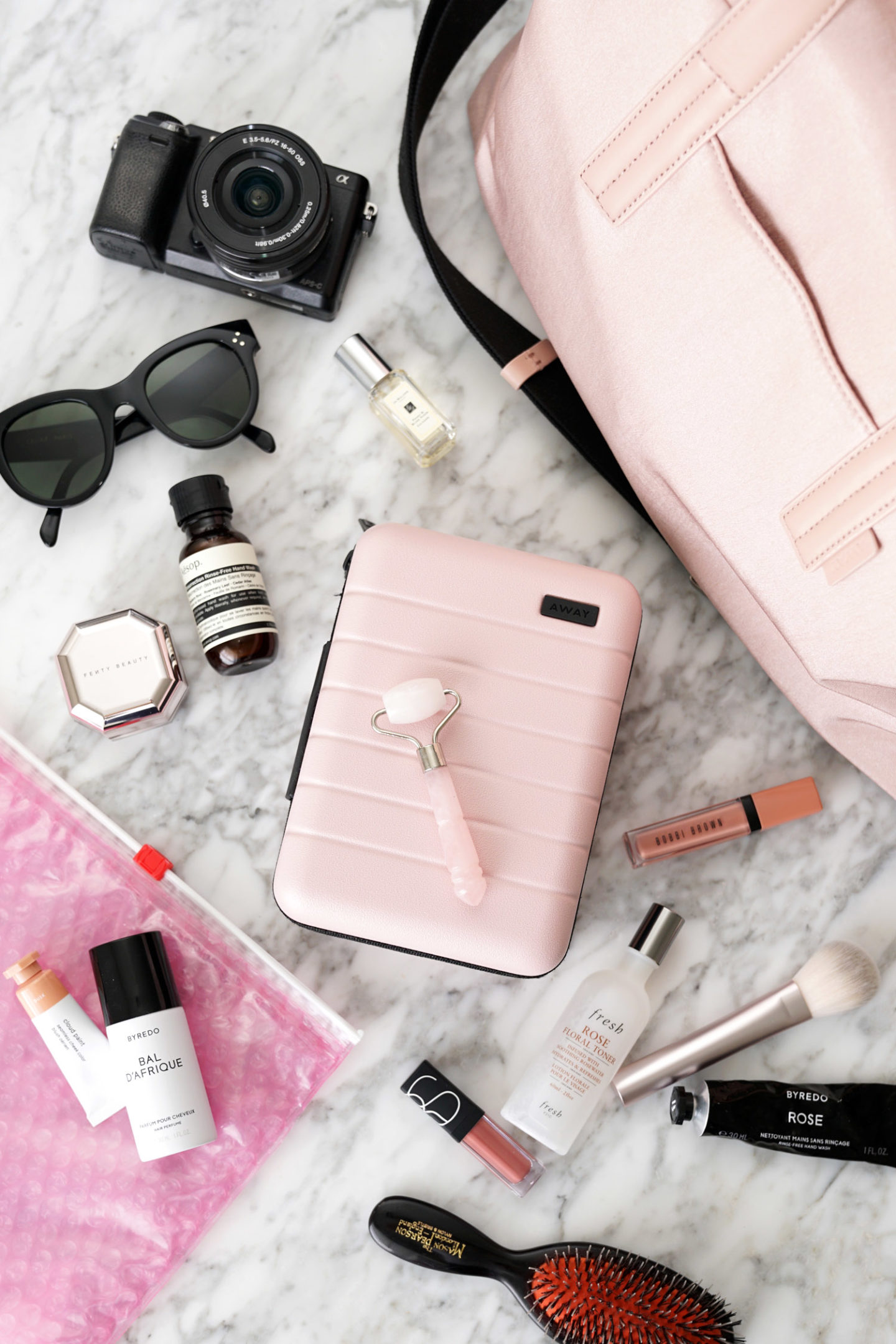 Away Mini Travel Case in Blush via The Beauty Look Book