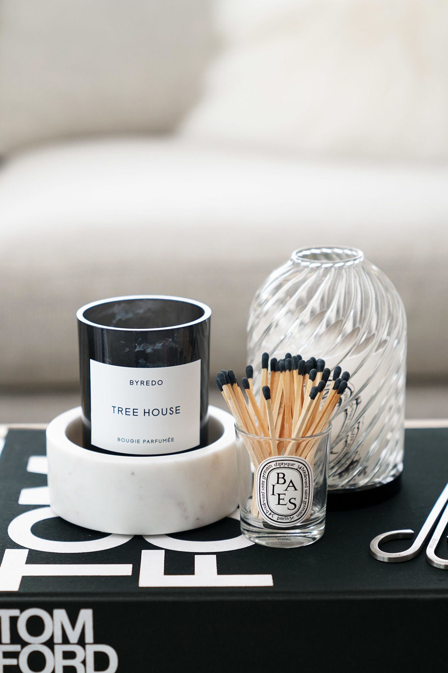 Byredo Candle, Marble Wine Coaster, Diptyque Photophore