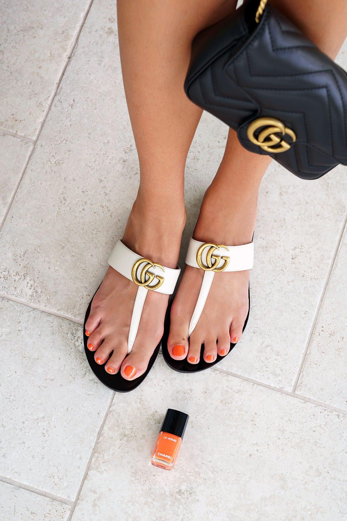 Gucci Leather T-Strap Sandal White