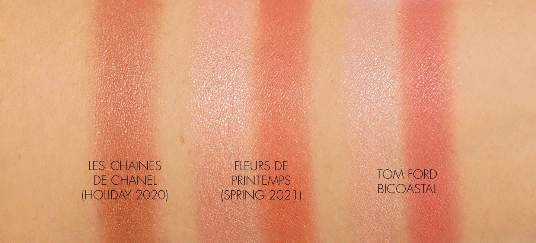 Chanel Chaines de Chanel vs Fleur de Printemps Blush Highlighter Duo vs Tom Ford Bicoastal swatches