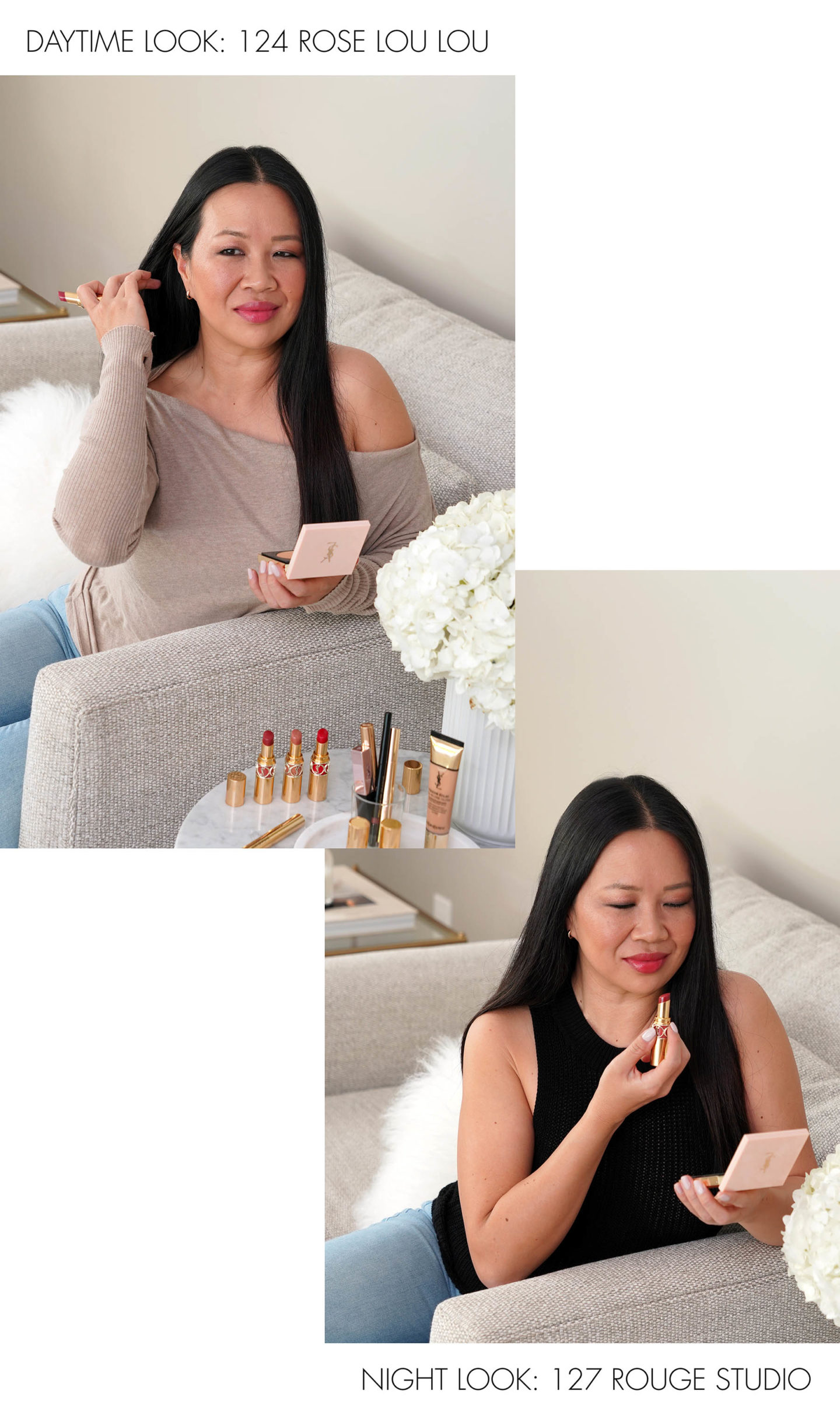 YSL Rouge Volupte Shine Day Look or Night Look