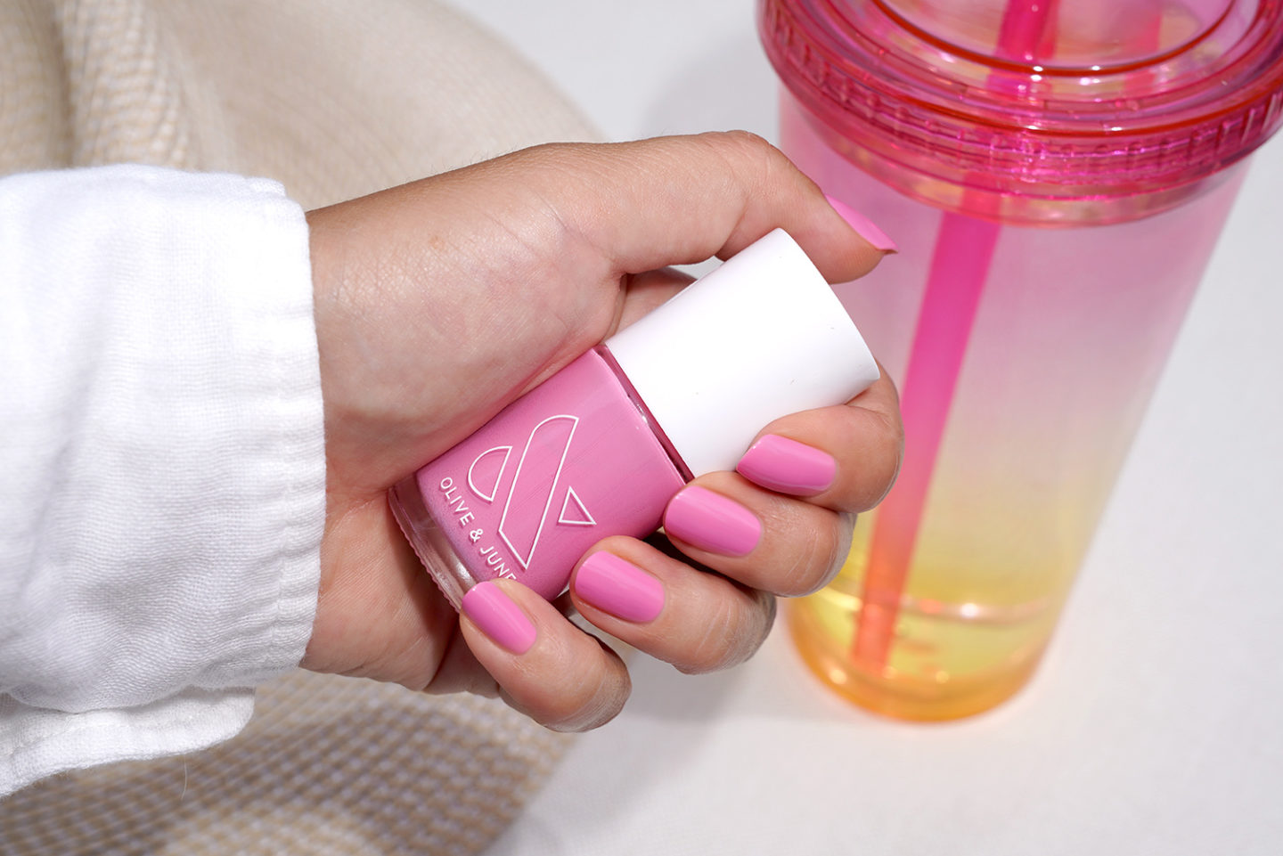 Olive and June Grateful and Kind nail polish swatch, pink